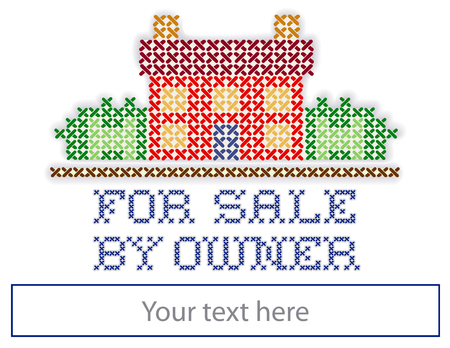 Real estate For Sale by Owner yard sign, retro cross stitch embroidery design, house in landscape, copy space to add information, isolated on white background