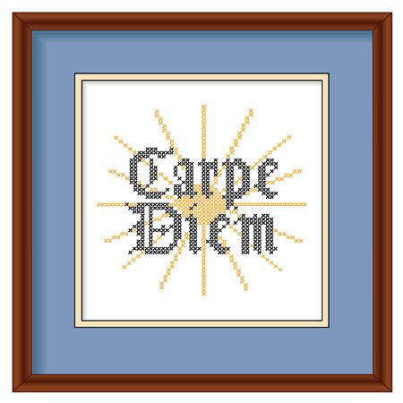 Carpe Diem, Gothic script, sunrise background cross stitch needlework sewing design on mahogany wood picture frame  Vector