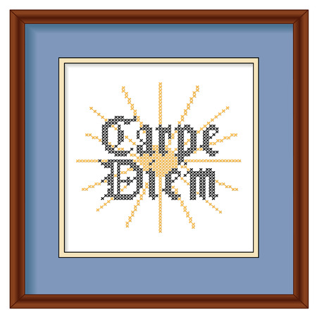 framed picture: Carpe Diem, Gothic script, sunrise background cross stitch needlework sewing design on mahogany wood picture frame  Illustration