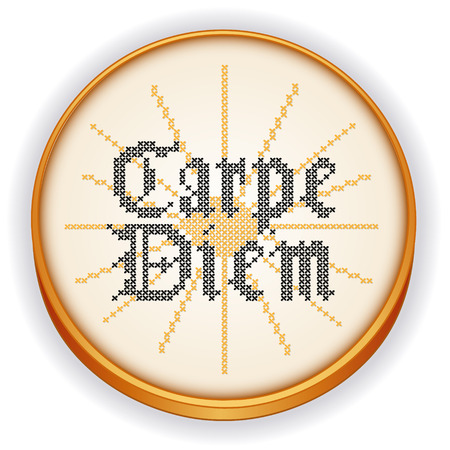cross stitch: Carpe Diem, Gothic script, sunrise background on retro wood embroidery hoop with cross stitch needlework sewing design