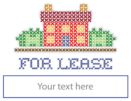 yard sign: For Lease Real Estate Yard Sign, retro cross stitch embroidery sewing design, house in landscape, blank space, isolated on white background