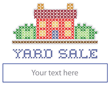 yard sale: Yard Sale Sign, retro cross stitch embroidery sewing design, house in landscape, blank space, isolated on white background