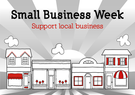 Small Business Week celebrates American merchants and entrepreneurs  Illustration of main street stores, shops and market with sunrise ray background