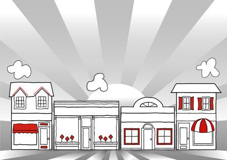 main street: Main Street America, illustrazione retr� di Stati Uniti d'America magazzini, negozi e piccole imprese, raggi sfondo di Alba con spazio di copia Vettoriali