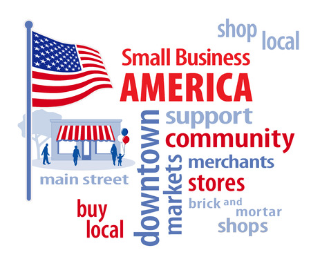 Small Business America, shop at local, community businesses, word cloud illustration in patriotic red, white and blue, American flag, shoppers at Main Street store isolated on white background