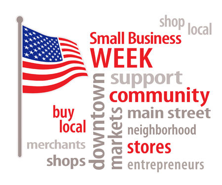 Small Business Week celebrates American merchants and entrepreneurs, word cloud illustration with stars and stripes American flag isolated on white background   Vector