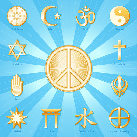 Peace Symbol, gold icons of 12 world religions surround international symbol of peace  Buddhism, Islam, Hindu, Taoism, Christianity, Sikh, Native Spirituality, Confucian, Shinto, Bahai, Jain, Judaism   Aqua blue and gold ray background   Illustration