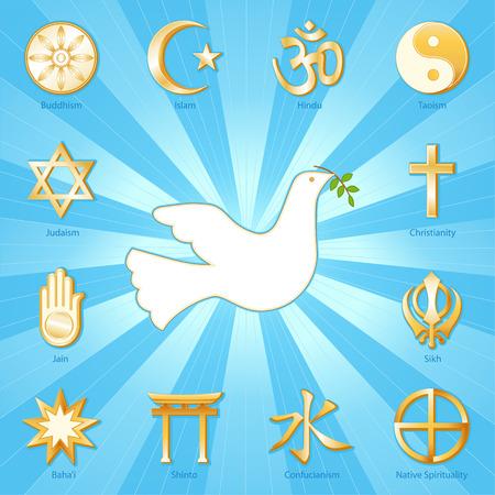 Dove of Peace, Many Faiths, gold icons of 12 world religions surround international symbol of Peace  Buddhism, Islam, Hindu, Taoism, Christianity, Sikh, Native Spirituality, Confucian, Shinto, Bahai, Jain, Judaism  Aqua blue and gold ray background