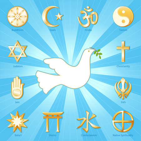Dove of Peace, Many Faiths, gold icons of 12 world religions surround international symbol of Peace  Buddhism, Islam, Hindu, Taoism, Christianity, Sikh, Native Spirituality, Confucian, Shinto, Bahai, Jain, Judaism  Aqua blue and gold ray background
