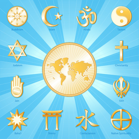 World of Faith, gold symbols of 12 international religions surround world map  Buddhism, Islam, Hindu, Taoism, Christianity, Sikh, Native Spirituality, Confucian, Shinto, Bahai, Jain, Judaism  Aqua blue and gold ray background   Illustration