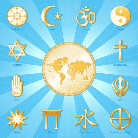 nonviolence: World of Faith, gold symbols of 12 international religions surround world map  Buddhism, Islam, Hindu, Taoism, Christianity, Sikh, Native Spirituality, Confucian, Shinto, Bahai, Jain, Judaism  Aqua blue and gold ray background   Illustration