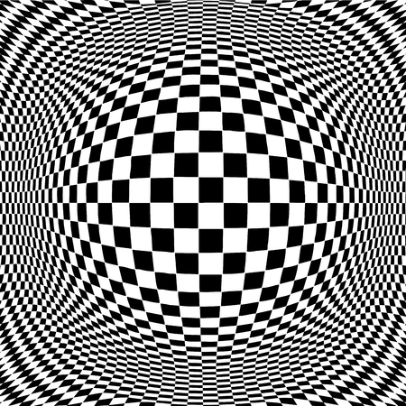 Op Art Design Pattern concept for hypnosis, unconscious, chaos, extra sensory perception, psychic, stress, strain, optical illusion in black and white  Vector