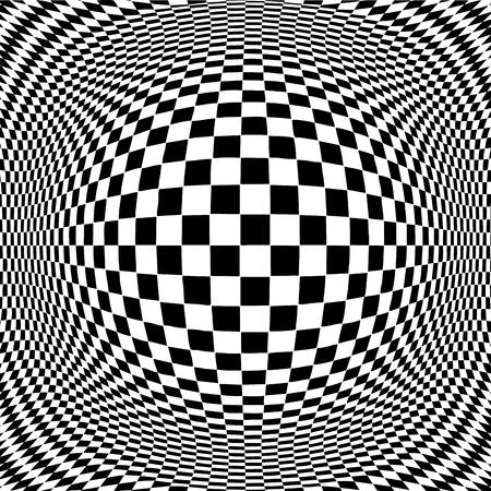 Op Art Design Pattern concept voor hypnose, onbewust, chaos, buitenzintuiglijke waarneming, psychische, stress, spanning, optische illusie in zwart-wit