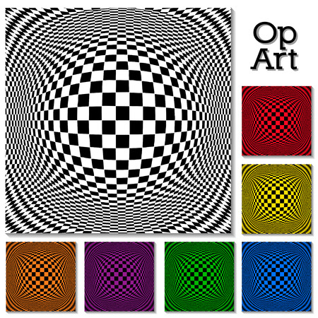 Op Art Design Patterns concept for hypnosis, unconscious, chaos, extra sensory perception, psychic, stress, strain, optical illusion and frame with copy space in black, white and six colors