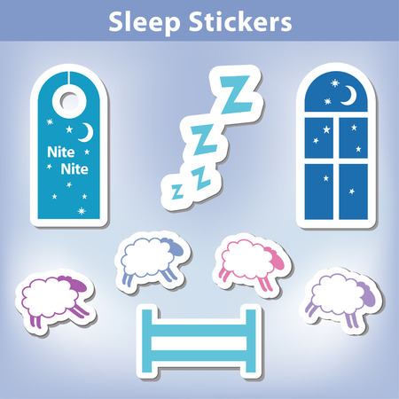 Sleep Stickers with sheep jumping a fence Vector