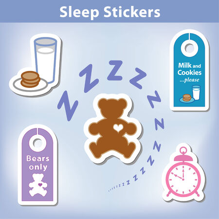 milk and cookies: Sleep Stickers with a Teddy bear with a big heart, milk, cookies, alarm clock, door hangers for a good nights dream in spiral Zzzz   Illustration