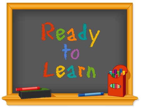 Chalk board, wood frame with shelf, box of chalk, multicolor, eraser, Ready to Learn text for preschool, daycare, kindergarten, nursery and elementary school.