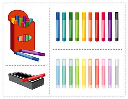 Doos met krijt, 20 kleuren, waaronder pastels, gum, voor plakboeken, terug naar school, kunst en ambachtelijke projecten.