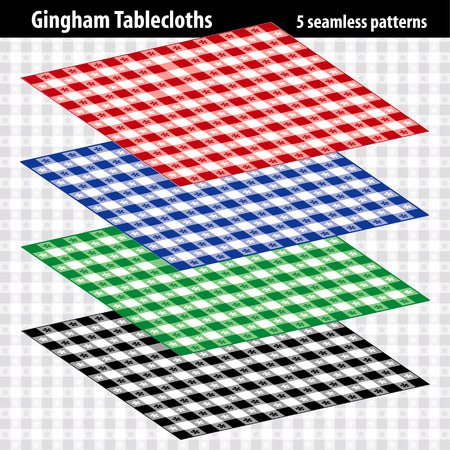 Gingham check tablecloths, five seamless pattern swatches.
