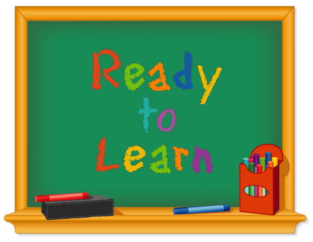 Green chalk board, wood frame with shelf, box of chalk, multicolor, eraser, Ready to Learn text for preschool, daycare, kindergarten, nursery and elementary school. Vector
