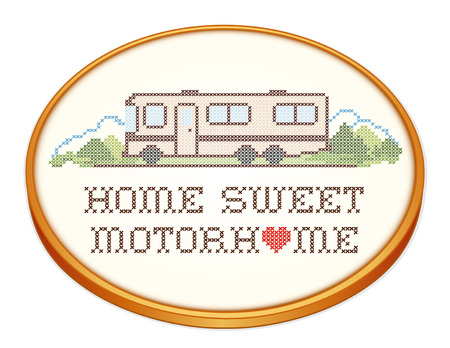 Home Sweet Motor Home, retro wood embroidery hoop with cross stitch needlework sewing design, Class A model recreational vehicle, landscape, road, mountains, white background.  Vector
