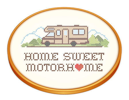 mobile home: Home Sweet Motor Home, retro wood embroidery hoop with cross stitch needlework sewing design, Class C model recreational vehicle, landscape, road, mountains, white background.