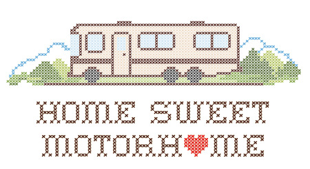 rv: Home Sweet Motor Home, retro cross stitch needlework sewing design, Class A model recreational vehicle in landscape, road and mountains, isolated on white background.  Illustration