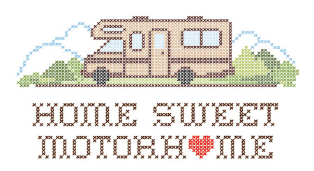Home Sweet Motor Home, retro cross stitch needlework sewing design, Class C model recreational vehicle in landscape, road and mountains, isolated on white background.