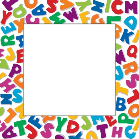 do it yourself: Alphabet Frame, square multicolor letter border on white background with copy space for back to school announcements, do it yourself posters, fliers, stationery, scrapbooks, albums. Illustration