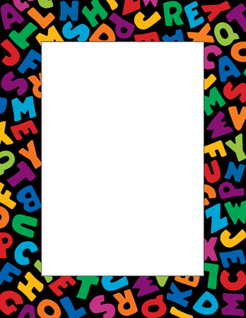 Alphabet Frame, multicolor letter border on black background with copy space for back to school announcements, do it yourself posters, fliers, stationery, scrapbooks, albums. Illustration