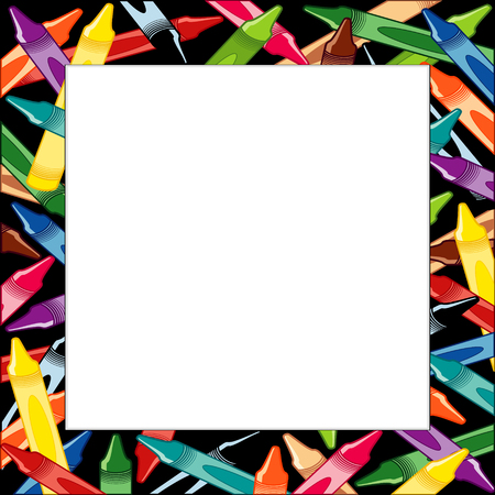 Crayons Frame, multicolor square border on black background with copy space for do it yourself announcements, posters, stationery, scrapbooks, fliers for back to school, home and office. 向量圖像