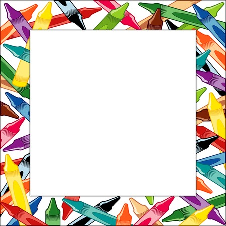 space for copy: Crayons Frame, multicolor square border on white background with copy space for do it yourself announcements, posters, stationery, scrapbooks, fliers for back to school, home and office. Illustration