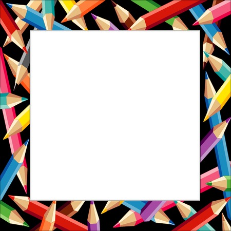 Pencils Frame, multicolor square border on black background with copy space for do it yourself announcements, posters, stationery, scrapbooks and fliers for back to school, home and office.