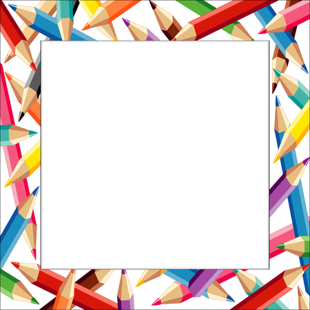Pencils Frame, multicolor square border on white background with copy space for do it yourself announcements, posters, stationery, scrapbooks and fliers for back to school, home and office.