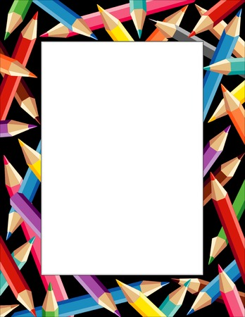 Pencils Frame, multicolor border on black background with copy space for do it yourself announcements, posters, stationery, scrapbooks and fliers for back to school, home and office.