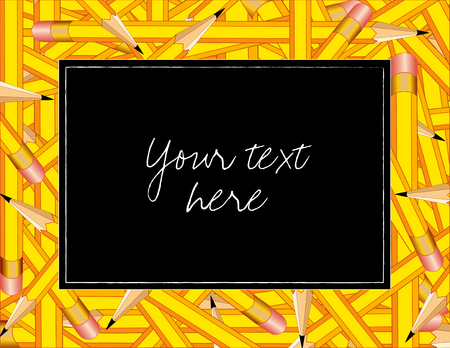 Pencil Frame, colorful horizontal border of sharpened yellow pencils with erasers, copy space on black background. Vector