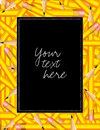 Pencil Frame, colorful vertical border of sharpened yellow pencils with erasers, copy space on black background. Vector