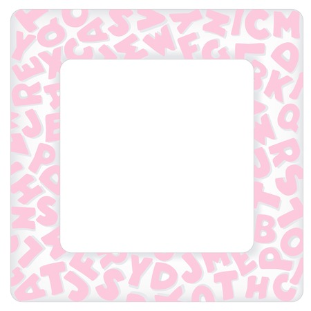 Alphabet Frame, square pastel pink letter border with copy space for baby books, albums, scrap books, announcements, invitations, posters, do it yourself crafts. Illustration