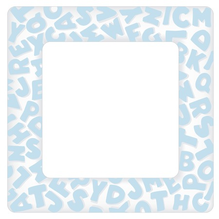 Alphabet Frame, square pastel blue letter border with copy space for baby books, albums, scrap books, announcements, invitations, posters, do it yourself crafts. Vector