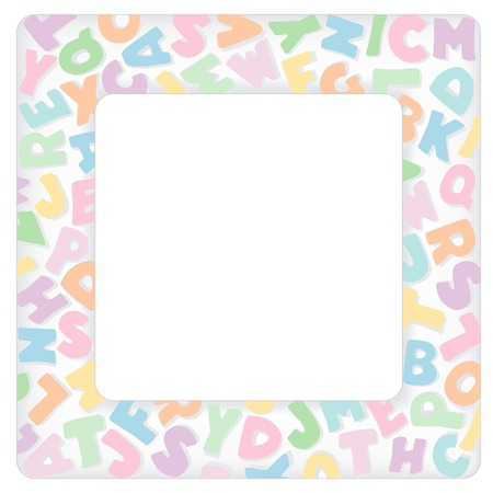 Alphabet Frame, square multicolor pastel letter border with copy space for baby books, albums, scrap books, announcements, invitations, posters, do it yourself crafts. Vector