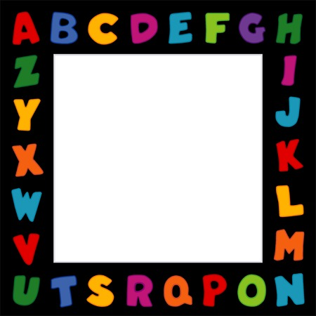 primary color: Alphabet Frame, primary color letters on black frame background with square copy space for school announcements, posters, fliers, scrapbooks, albums.