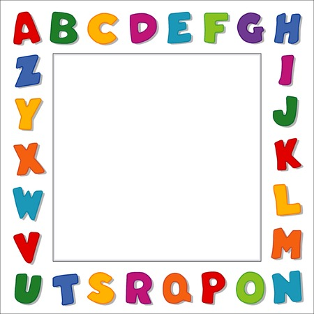 Alphabet Frame, primary color letters on white frame background with square copy space for baby books, school announcements, posters, fliers, scrapbooks, albums.