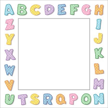 Marco del alfabeto, polka dot pastel letras sobre fondo blanco marco con copia espacio cuadrado para los libros del bebé, los avisos escolares, carteles, volantes, libros de recuerdos, álbumes. Foto de archivo - 33890473