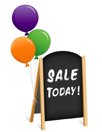 Sign, Sale Today! chalk board, balloons, light wood frame folding sidewalk easel with brass chain, slate background.