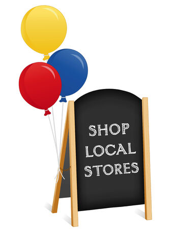 buy local: Sign, Shop Local Stores chalk board, balloons, light wood frame folding sidewalk easel with brass chain, slate background. Illustration