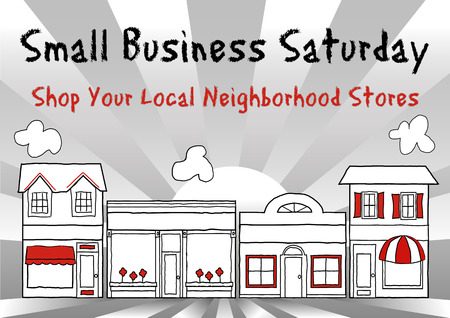 Small Business Saturday USA encourages shopping at small, local, main street stores and shops, ray background. Vector