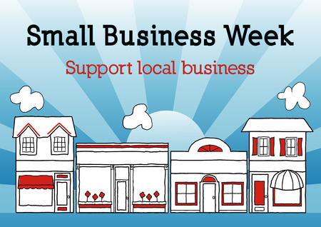 Small Business Week, Main Street USA celebrates American small business owners and entrepreneurs, blue ray background. Çizim