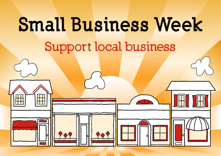 Small Business Week, Main Street USA celebrates American small business owners and entrepreneurs, gold ray background. Vector