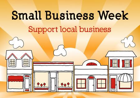Small Business Week, Main Street USA viert de Amerikaanse eigenaren van kleine bedrijven en ondernemers, goud ray achtergrond. Stockfoto - 34411543
