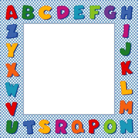 Frame van het alfabet, origineel ontwerp multicolor letters op blauwe gingangcontrole grens achtergrond met vierkante kopie ruimte voor aankondigingen school, posters, flyers, plakboeken, albums, baby boeken. Stock Illustratie